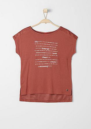 Materialmix-Shirt mit Schrift-Print