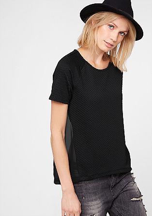 Materialmix-Shirt mit Struktur