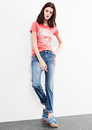 Megan Girlfriend: jeans hlače z umetniškimi elementi