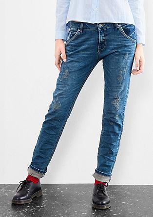 Megan girlfriend: jeans met slijtageplekken