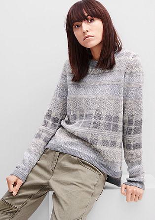 Mehek pleten pulover z vzorcem