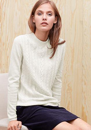 Mehek pleten pulover z vzorcem s kitami