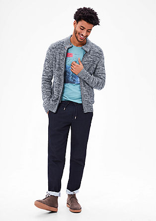 Melange cardigan with stand-up collar from s.Oliver