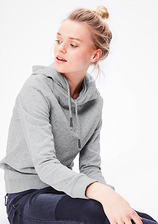Melange hoodie with a shawl collar from s.Oliver