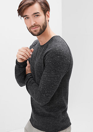 Melange knit jumper with a curled hem from s.Oliver