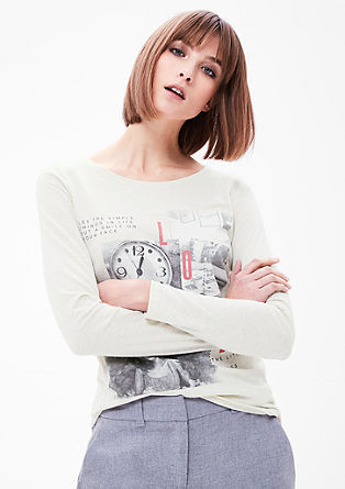 Melange-Shirt mit Fotoprint