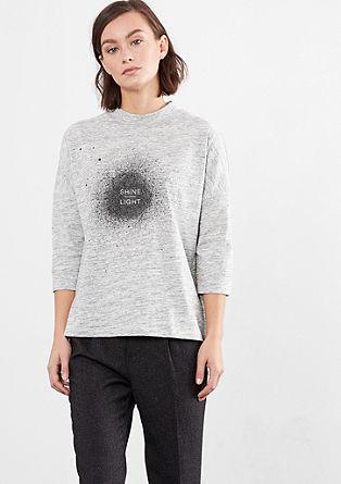Melange-Shirt mit Glitter-Print