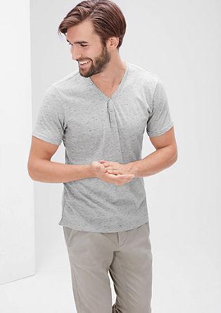 Melange-Shirt mit Knöpfen