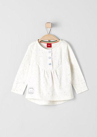 Melange-Shirt mit Knopfleiste