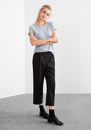 Melange-Shirt mit Nieten