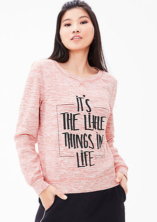 Melange sweatshirt with a print from s.Oliver