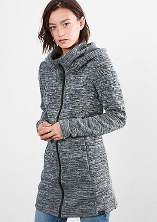 Melierte Knitwear-Fleecejacke