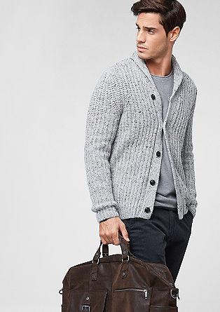 Melierter Cardigan mit Woll-Anteil
