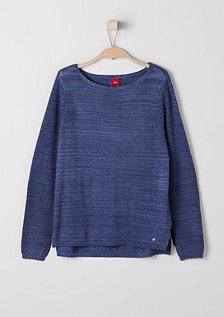 Melierter Feinstrick-Pullover