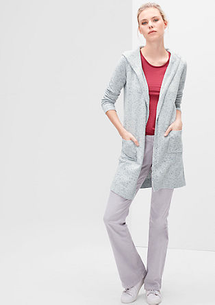 Melierter Long-Cardigan
