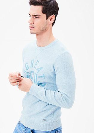 Melierter Pullover mit Wording