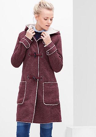 Melierter Sweat-Mantel mit Plüsch