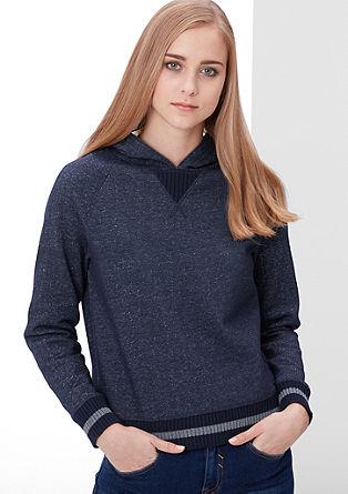 Melierter Sweater mit Kapuze