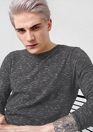 Melierter Sweater mit Zipper