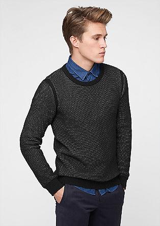 Melierter Waffelstrick-Pullover