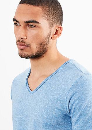 Meliertes Basicshirt mit V-Neck
