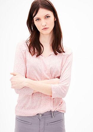 Meliertes Jersey-Shirt mit Blende