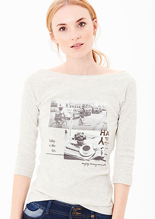 Meliertes Shirt mit Fotoprint