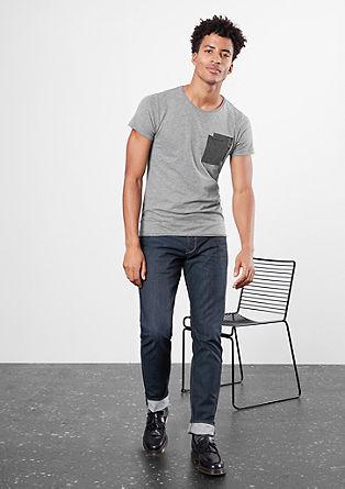 Meliertes Shirt mit Kontrast-Tasche