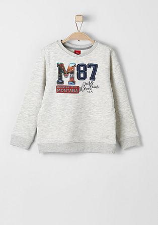 Meliertes Sweatshirt mit Stickerei