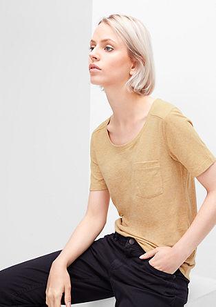 Meliertes T-Shirt mit Knöpfen