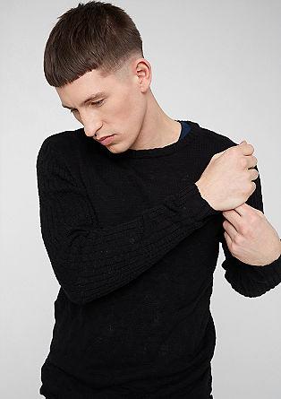 Meliran pleten pulover iz mešanice struktur