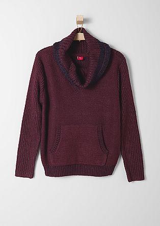 Meliran pleten pulover z ovratnikom v obliki šala