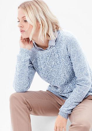 Meliran pulover z vzorčasto sprednjo stranjo