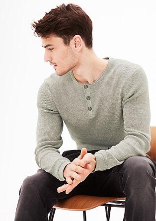 Meliran rebrasto pleten pulover v slogu Henley