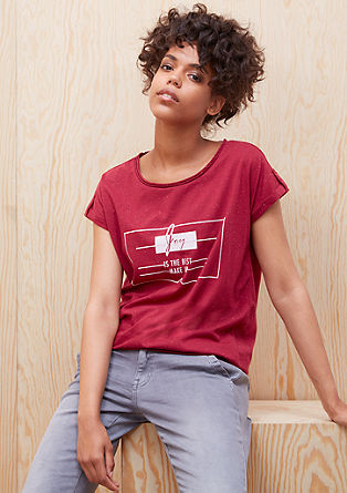 Melirana majica z žametnim potiskom