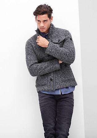 Melirana volnena jakna pletenega videza