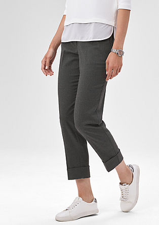 Melirane flanelaste hlače z zavihkom