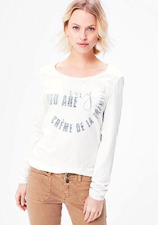 Melírované tričko s dlouhým rukávem s potiskem