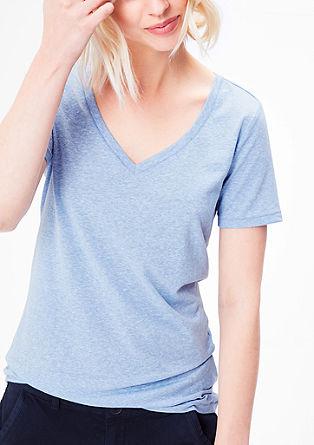Melírované tričko se špičatým výstřihem