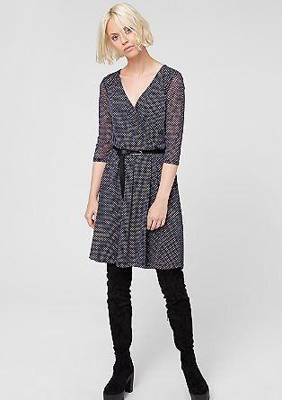 Mesh dress with a wrap-over effect from s.Oliver