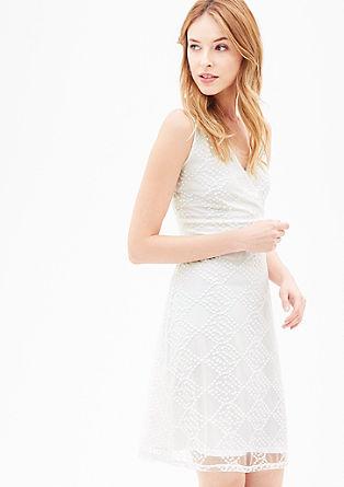 Mesh jurk met hals in wikkellook