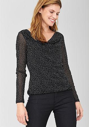 Mesh-Shirt im Millefleurs-Design