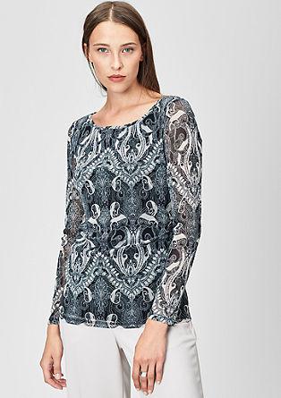 Mesh shirt met all-over print