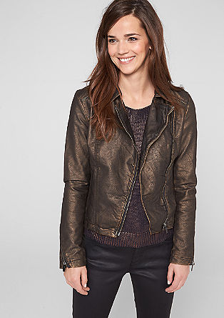 Metallic look biker jacket from s.Oliver
