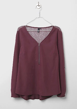 Mixed fabric blouse with lace from s.Oliver