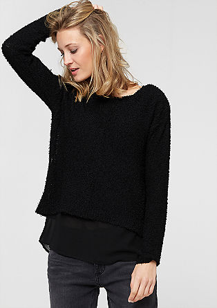 Mixed fabric jumper in a layered look from s.Oliver