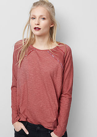 Mixed fabric long sleeve top with beads from s.Oliver