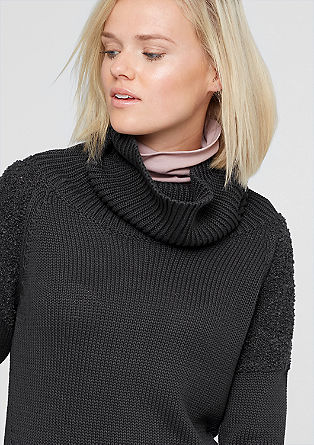 Mixed fabric polo neck jumper from s.Oliver