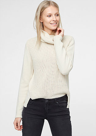 Mixed knit polo neck jumper from s.Oliver