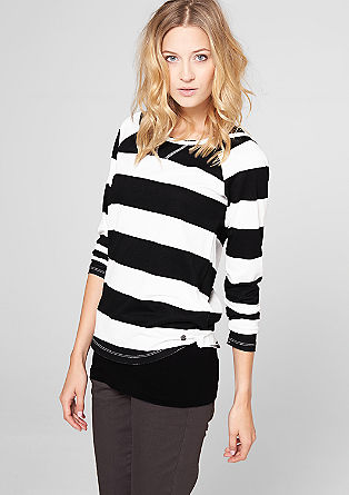 Mock layer, long sleeve T-shirt with stripes from s.Oliver